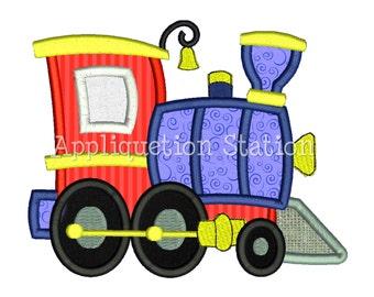 Train Engine Applique Machine Embroidery Design boy blue red INSTANT DOWNLOAD