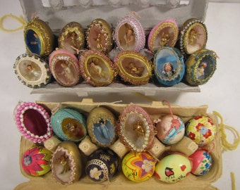 Two Dozen Vintage Handcrafted Easter Eggs from 1960's