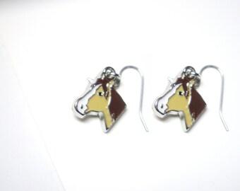 Horse Head  earrings - horse jewelry-Enameled brown horse  charm - Hoops Sterling Silver .925