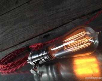 Edison Bare Bulb - Pendant Lamp - Industrial Decor - Vintage Cloth Cord