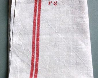vintage linen red stripes monogrammed towel