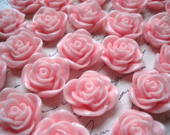 Rose Cabochons / 6 pcs Pink Resin Rose / Resin Cabochon Flowers 22 mm