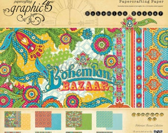 """Graphic 45 """"Bohemian Bazaar """"  12x12 Paper Pad"""