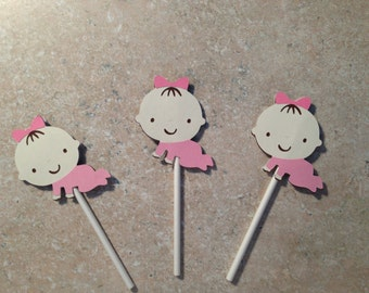 Baby girl cupcake toppers