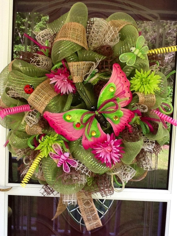SALE Butterfly Deco Mesh Wreath