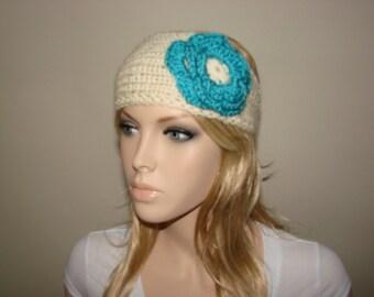 Cream Blue Knit headband with crocheted flower, knitted headband ivory teal blue, head wrap, earwarmer ski
