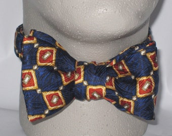 Mens BOW TIE Freestyle SILK Blue Gold Caramel Squares on Diagonal Self Tie Your Own Bowtie
