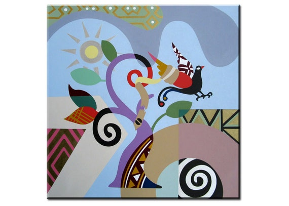 "Gallery Wrapped Acrylic on Canvas Bird Painting - Modern Cubist Abstract Landscape Art - 18"" X 18 X 1.5"""