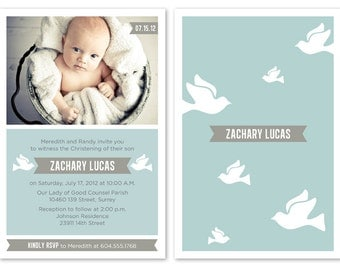 Blue Baby Boy Baptism / Christening Invitation with Photo ...