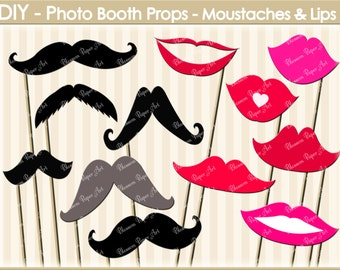 Photo Booth Props - Moustaches - Lips - Digital Clipart - Printable - Party - INSTANT DOWNLOAD - 300dpi - 1602