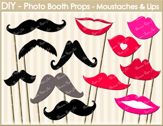 Moustaches Lips Digital Clipart Printable Party DIY