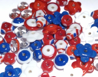 PATRIOTIC  MIX - Handmade Glass Lampwork Beads - Red White and Blue - Set of 20