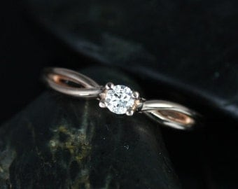 Rosados Box Erika 3.5mm 14kt Rose Gold Round Diamond Double Twist Engagement Ring