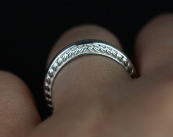 Alexis 14kt White Gold Vintage Engraved Leaves Wide Knife Edge ALMOST Eternity Band (Other Metal Options Available)