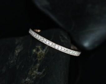 Rosados Box Victoria 14kt Rose Gold Pave Diamonds WITH Milgrain HALFWAY Eternity Band