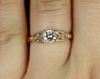 McCara 5mm 14kt Rose Gold Round Morganite Celtic Knot Engagement Ring (Other Metals and Stone Options Available)