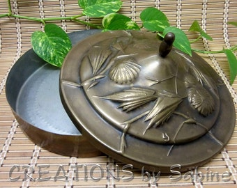 Bowl Large Hammered Brass Container with Lid, Metal Flower Vine Design LS Monogram Art Floral Round Box Centerpiece Vintage FREE SHIPPING
