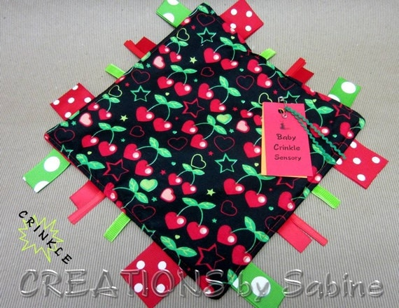 Baby Crinkle Tag Blanket Sensory Toy, Ribbons, Unisex, Black, Green, Red, Cherries, Hearts, Stars, Cool, Hip, Padded READY TO SHIP 99