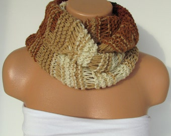 Hand Knitted Infinity Loop  Scarf,Neckwarmer,Brown and Cream Circle Scarf,Cowl, Winter Accessories,Holiday Accossories,Chunky Scarf.