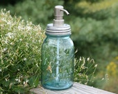 Blue Mason Jar Soap Dispenser with Brushed Stainless Metal Pump - Blue Quart Jar Lotion Bottle - Ball Perfect Mason