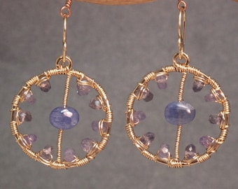 Hammered circles earrings tanzanite and iolite Bohemian 88