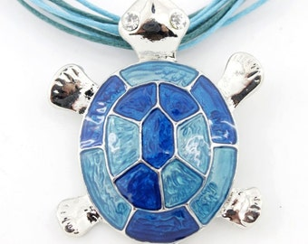 Silver-tone Simple Blue/Red/Purple Enamel Turtle Pendant Necklace