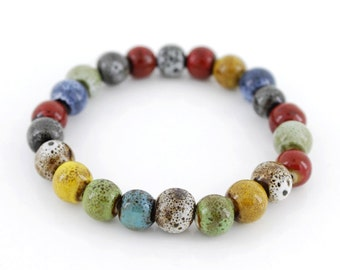 Special Fancy Bohemia Style Colorful Ceramic Beads Elastic Bracelet