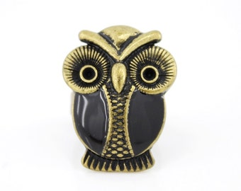 Vintage Gold-tone Cute Owl Ring,Size 7