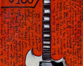 Kim Thayil Guild S-100 electric guitar art print. Soundgarden Art. Guitar Art.