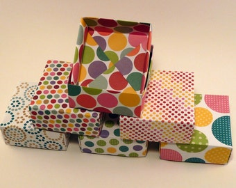 Set of 100 - Party Favor Box, Wedding Favor Box, Multicolored Box, Polka Dot Box, Gift Box, Origami  Box, Bright Colorful Box