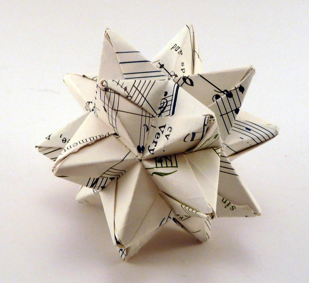 Small Music Star Ornament Christmas Ornament Origami Star