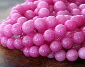 Mountain Jade Beads, Hibiscus Pink, 6mm Round - 15.5 Inch Strand - eMJR-P30-6