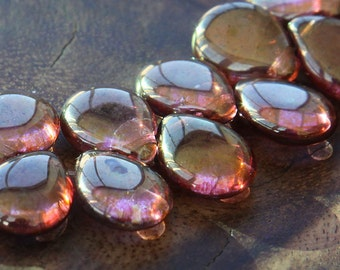 Rose Gold Topaz Luster Czech Glass Beads, 16mm Pear Shaped Drop - 10 pcs - e65491-1216