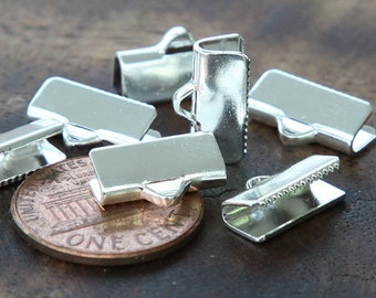 Ribbon Ends, Silver Plated, 13x5mm Smooth - 20 pcs - eRE13x6-ST