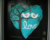 XL Burlap Heart with Love Birds