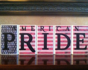 Wood American Pride Blocks - July 4th / Independence day / 4th of July / Summer / American Home Decor / American Flag