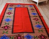 6.6ft X 4ft, Vintage Hand Woven Rug , Red Kilim Rug, Pure Organic Wool Rug, Tribal  KilimRug