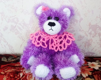 Hand Knit Toy - Soft Plush Lilac Teddy Bear-girl