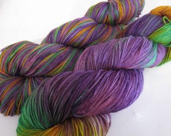 """Handpainted Merino Superwash Sock Yarn- """"Crocus"""""""