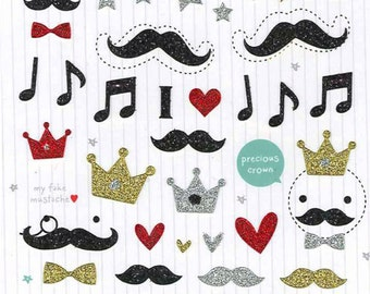 Korean Scrapbook Die-cut Stickers, Mustache (coated with shinny powder) (STSM03083)