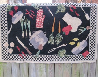 "Kitchen Area Rug Country Primitive Wool Loop Hooked 63"" x 41"""