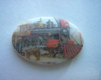 Vintage Glass Train Scene Cabochon   # T 6