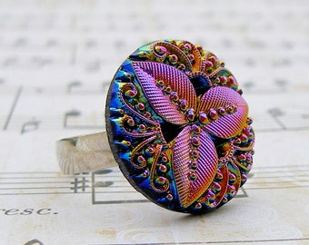 Rainbow Leaf - adjustable Vintage glass button ring