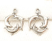 Three Dolphin Ring Circle Charm, Antique Silver (6) - S147