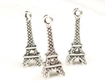 Eiffel Tower Antique Silver Charms (4) - S91