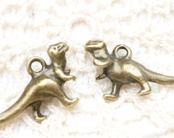 Tyrannosaurs Rex T-Rex Dinosaur Charms , Antique Bronze (6)