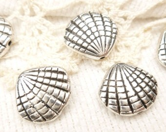3D Shell Spacer Bead Charm, Antiqued Silver (8) - S153