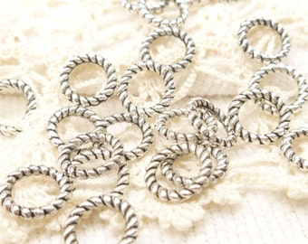 Solid Rope Ring 10mm Antique Silver Design Ring (20) - SF3
