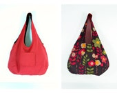 reversible light weight red with brown and green retro print - tote