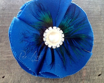 Royal Blue, Feather and Pearl Rhinestone Hair Accessory/Brooch